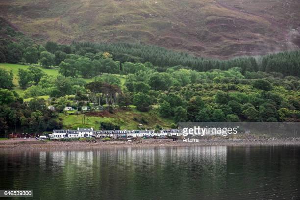 White houses of the village Applecross along the Inner Sound, Wester Ross, Scottish Highlands, Scotland, UK.