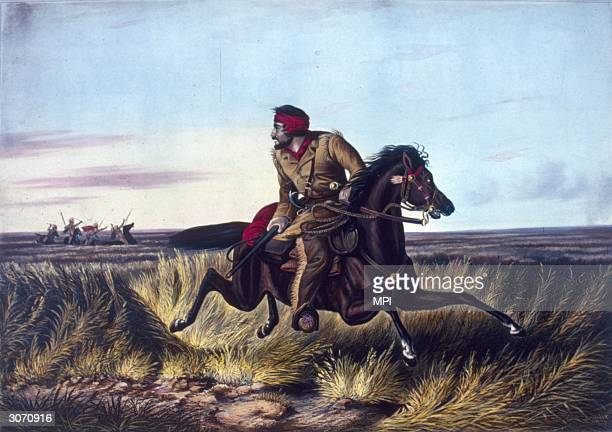 A white hunter rides desperately across the plains pursued by a party of hostile Native Americans on horseback A lithograph by Nathaniel Currier...