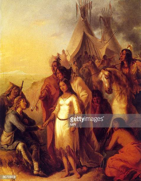 A white hunter takes the hand of a young Native American woman as his new wife Original Artist By Alfred Jacob Miller