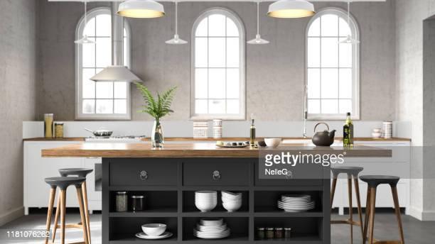 witte industriële keuken - keuken stockfoto's en -beelden