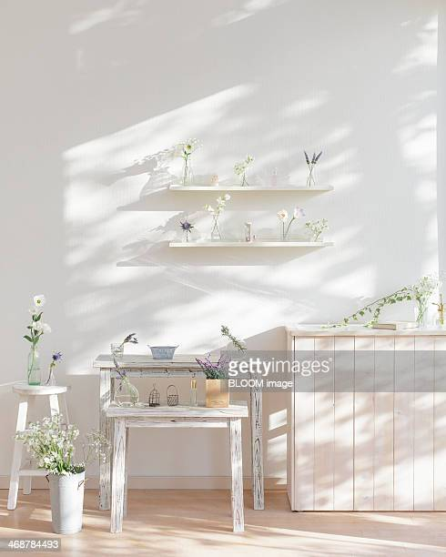 White interior decorated with flowers