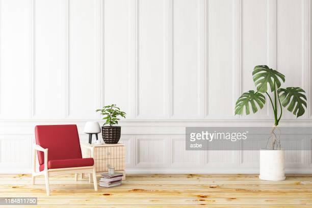 アームチェア付きホワイトインテリア - 古典様式 ストックフォトと画像