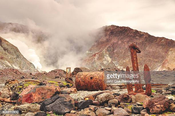 white island sulphur factory - white island stock photos and pictures