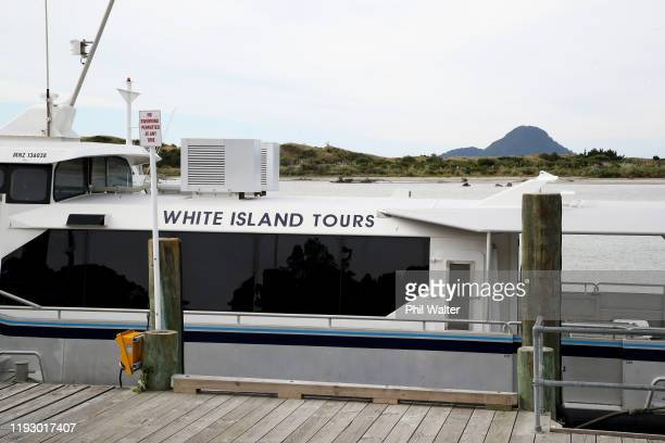 White Island Tours craft are pictured on the Whakatane wharf on December 10 2019 in Whakatane New Zealand 5 people are confirmed dead and several are...
