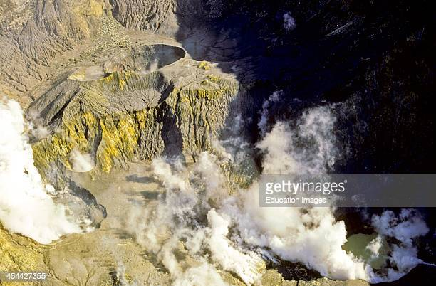White Island Whakaari crater Erupting ash steam and sulphur dioxide075 feet above sea level Andesitedacite Note secondary crater Active volcano...