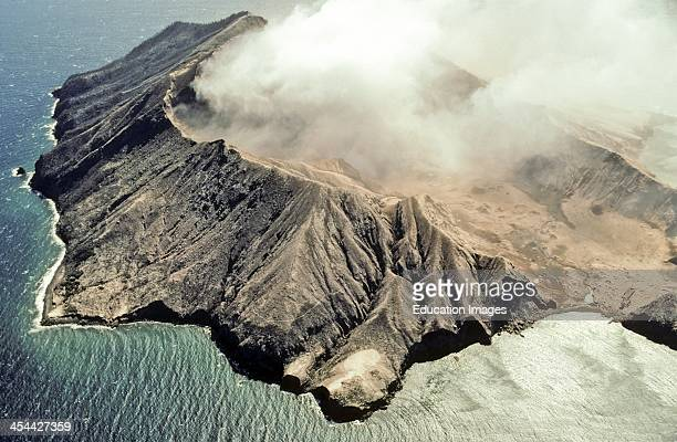 White Island Whakaari crater Erupting ash steam and sulphur dioxide Breached crater lower right075 feet above sea level Andesitedacite Active volcano...