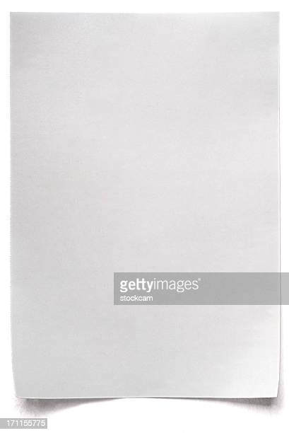 white isolated sheet of blank paper - bericht stockfoto's en -beelden
