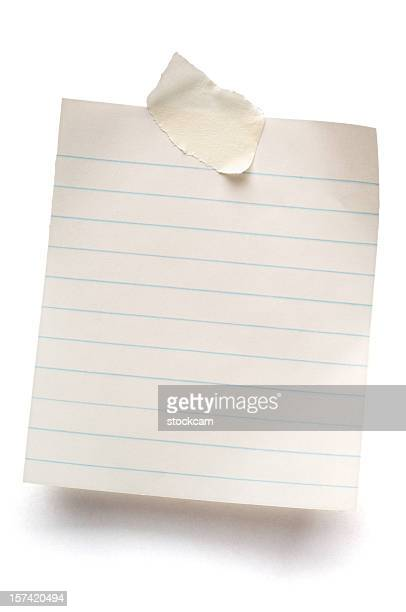 white isolated sheet of lined note paper - lined paper stock photos and pictures