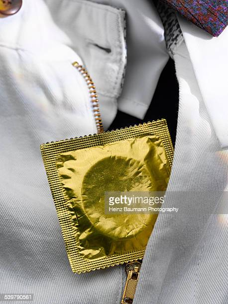 White jeans with condom