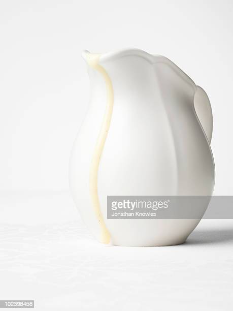 White jug with custard drip