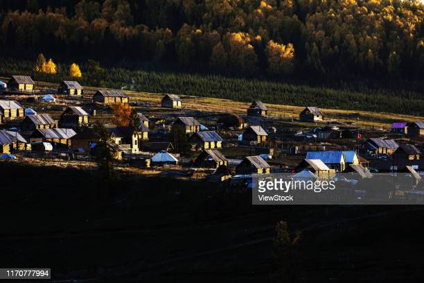 white khabarov village scenery in xinjiang - visual_effects stock pictures, royalty-free photos & images