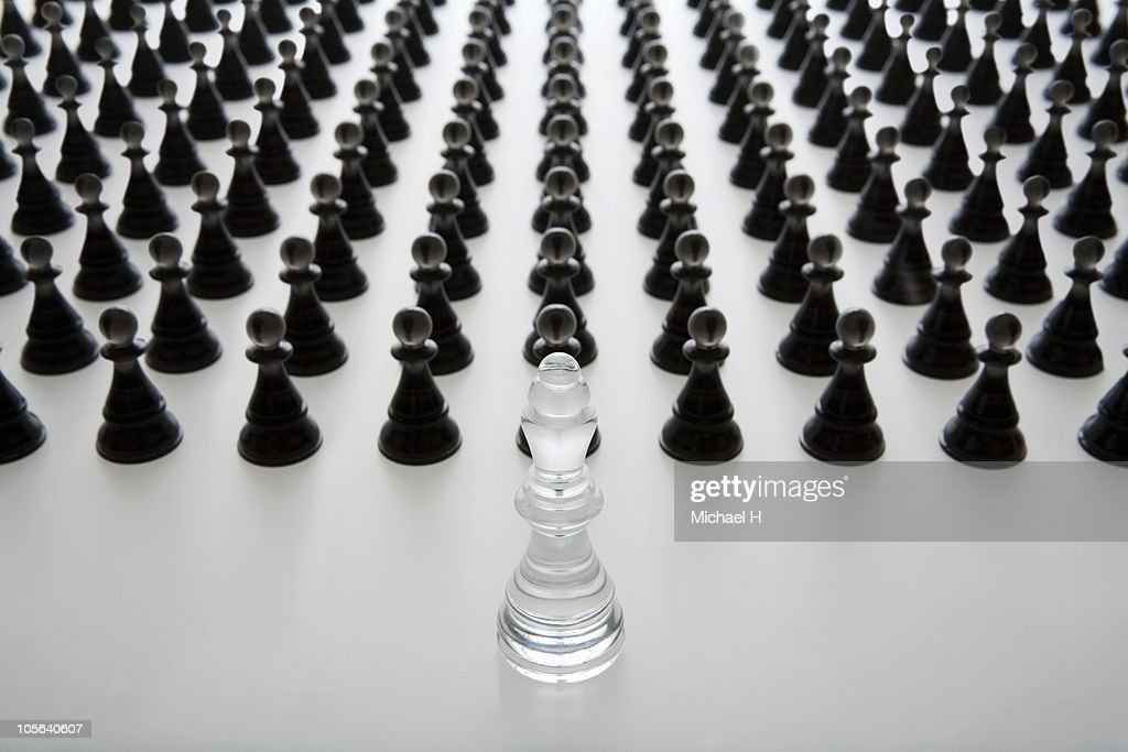 White King who governs a black pawn : Stock Photo