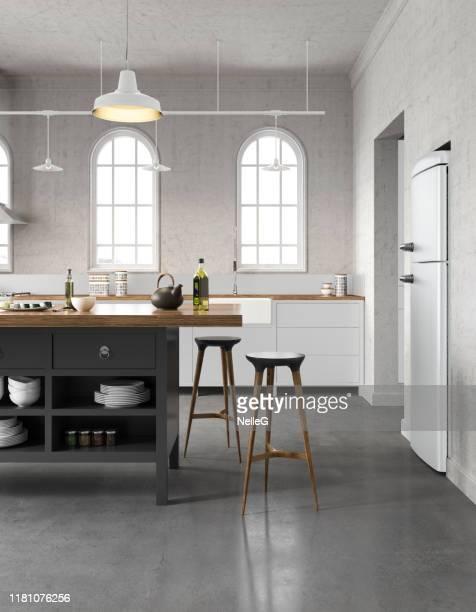 witte keuken - vloerbedekking stockfoto's en -beelden