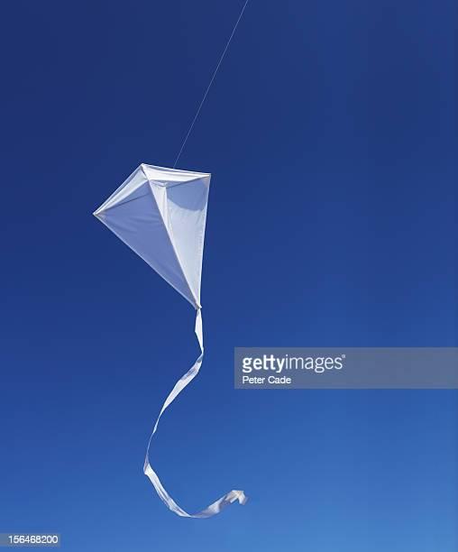 White kite against blue sky.