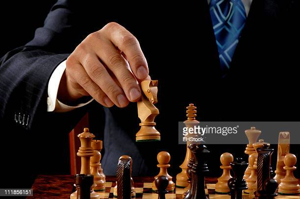 White Knight Chess Piece on Opening Move