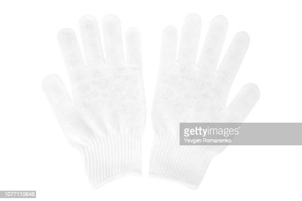 white knit gloves isolated on white background - white glove stock pictures, royalty-free photos & images