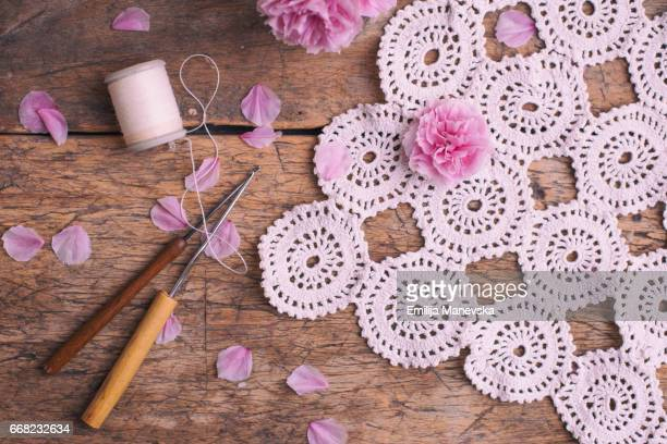 White lace doily, homemade