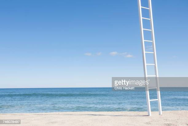 White ladder on empty beach with blue ocean in background