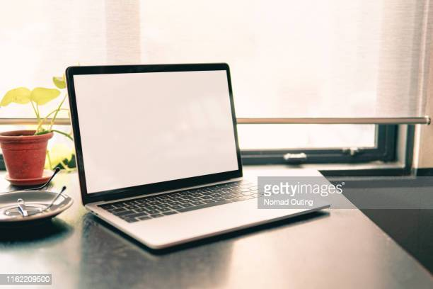 white laptop screen template for presentation application user interface. - website template stock photos and pictures