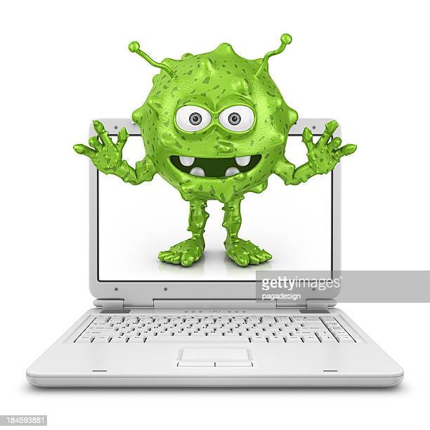White laptop with green computer bug on screen