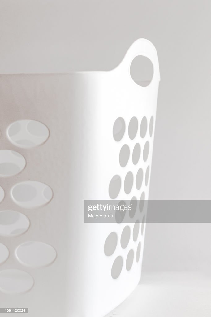 white laundry basket : Stock Photo