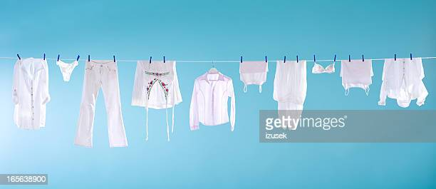 white laundry - wet knickers stock pictures, royalty-free photos & images