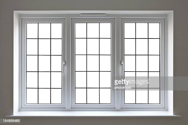 white leaded glass window - window frame stock pictures, royalty-free photos & images