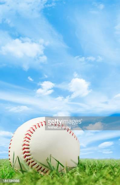 ホワイトのレザーにグラス野球ピッチ、ブルースカイ