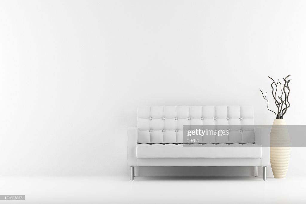 Awe Inspiring White Leather Couch And Vase With Dry Wood Stock Photo Pabps2019 Chair Design Images Pabps2019Com