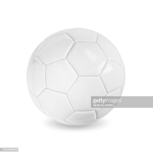 white leather football - fußball stock-fotos und bilder