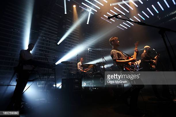 White Lies lead vocalist Harry McVeigh performs at the Burberry Brit Rhythm gig on October 18 2013 in Singapore