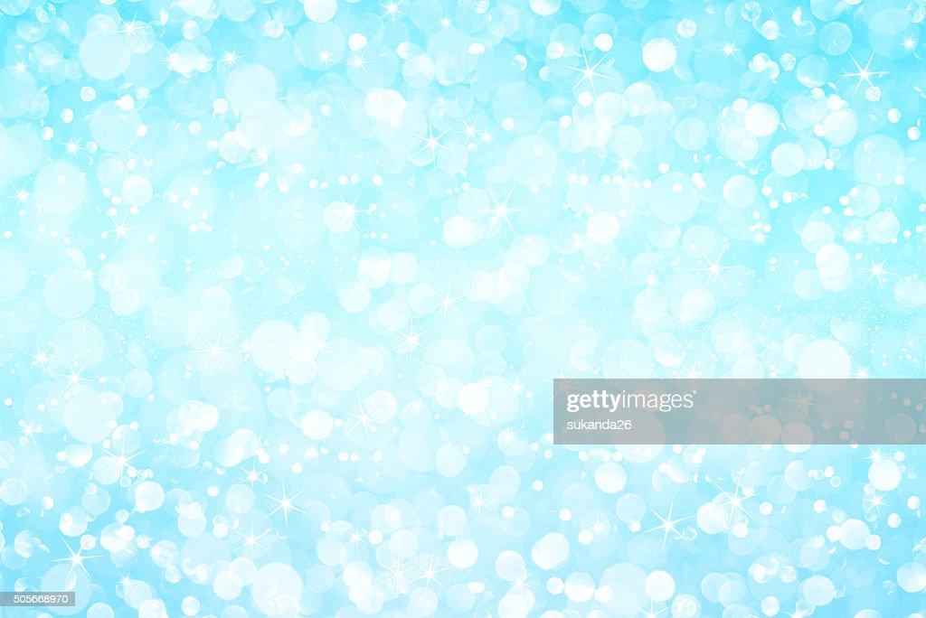 Bianco Luce Blu Con Stelle Glitter Bokeh Astratto Sfondo Foto Stock
