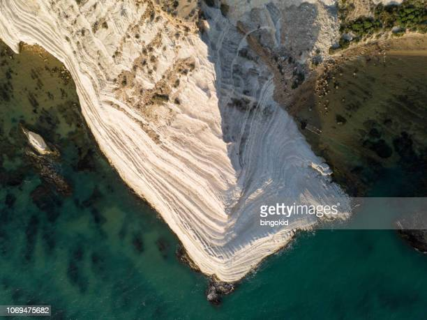 white limestone cliffs by the sea - south australia stock photos and pictures