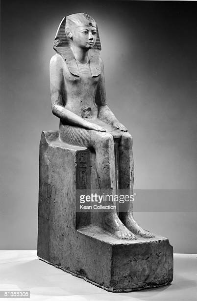 White limestone statue entitled 'Seated Figure of Hatshepsut' from the XVIII Dynasty c 1495 BC Hatshepsut was the queen of Egypt from 1495 1468 BC...