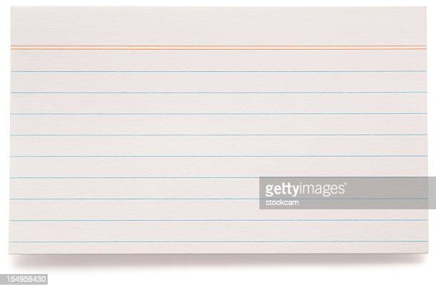 White lined index card