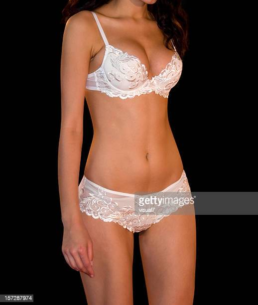 white lingerie - frilly stock photos and pictures