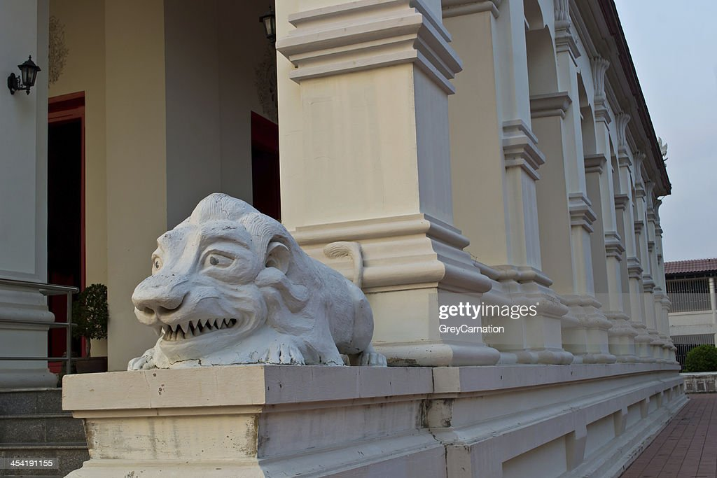White lion statue in the temple. : Stock Photo