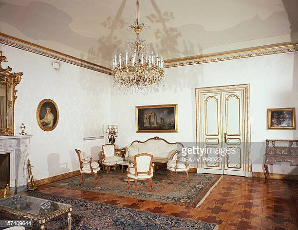 White living room Quirinal Palace official residence of the President of the Italian Republic Rome Italy 17th century