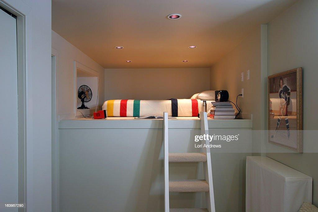 White loft bedroom with Hudson's Bay Blanket : Stock Photo