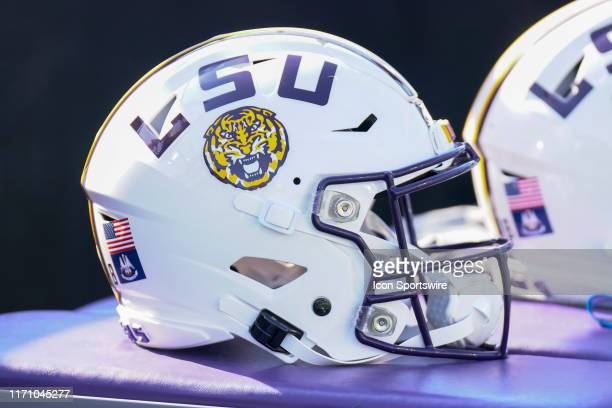 A white LSU helmet during the game between the LSU Tigers and Vanderbilt Commodores at Vanderbilt Stadium on September 21 2019 in Nashville TN