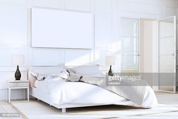 Chambre de luxe de couleur blanc mural