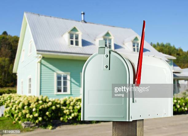 white mailbox and farmhouse - mailbox stock pictures, royalty-free photos & images