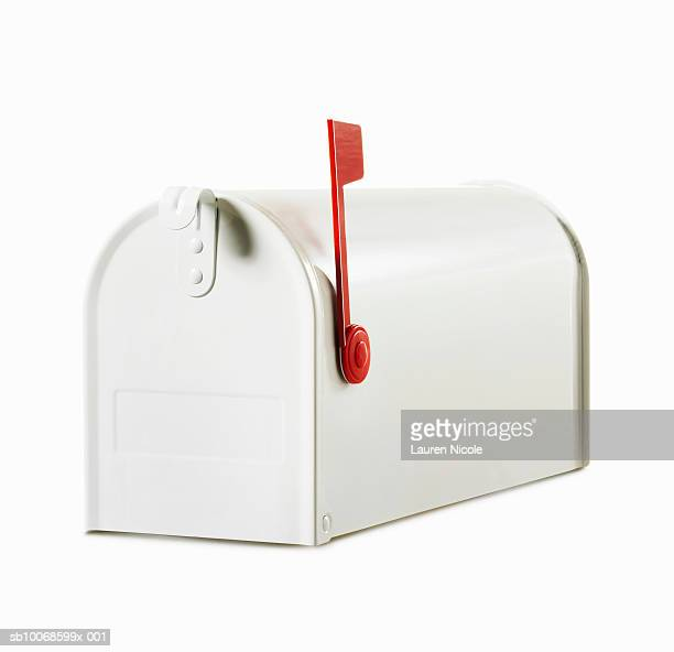 white mailbox with red flag in up position, studio shot - domestic mailbox stock pictures, royalty-free photos & images