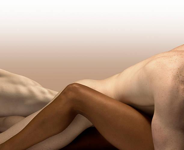 White Male And Dark Skinned Female,bodies Embraced Wall Art