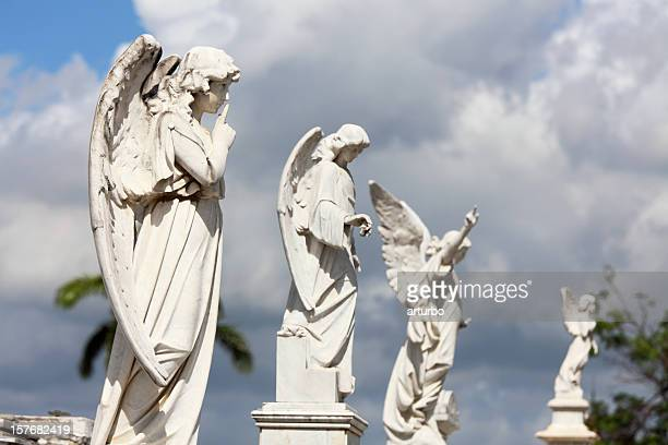 white marble angel statues
