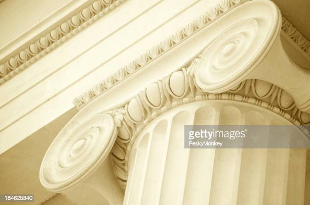 White Marble Ionic Column Scroll Pediment Close-Up