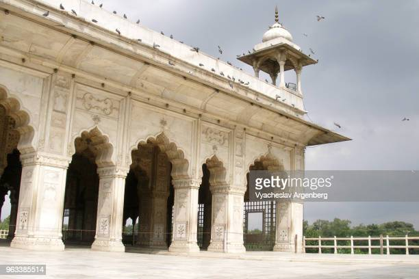 White marble palace, Red Fort, Khas Mahal of pure white marble, Mughal art, Delhi, India