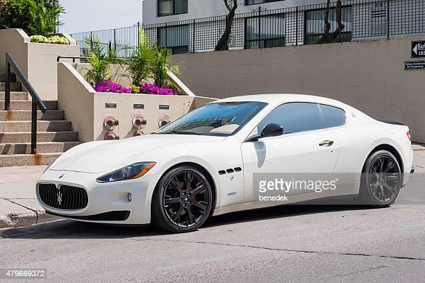 white maserati granturismo luxury sports car - maserati stock pictures, royalty-free photos & images