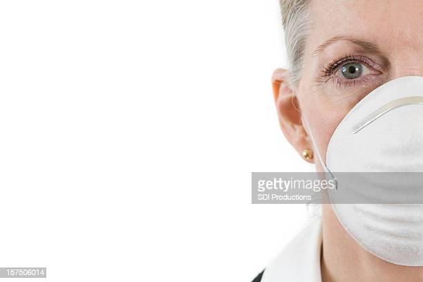 White Mask Woman Staring Straight Forward