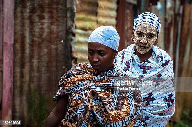 White Mask Woman, women, color image, face mask, woman face, woman portrait, Hell Ville Market, Africa, Travel, colured face, people face, face, the...